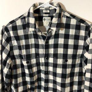J Crew black and white checkered shirt
